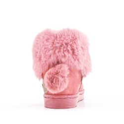 Pink girl bootie with pompon on the back