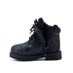 Black sequined girl's boot with lace