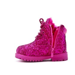 Fuchsia girl boot sequined lace