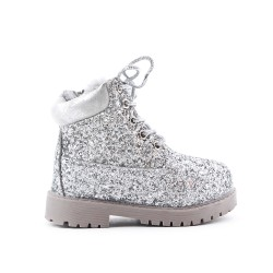 Silver sequined girl's boot with lace