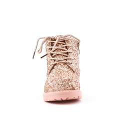 Golden sequined girl's boot with lace