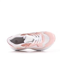 Basket rose à lacet