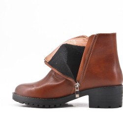 Camel imitation leather ankle boot with zipper