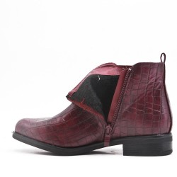 Red wine imitation leather ankle boot with crocodile print