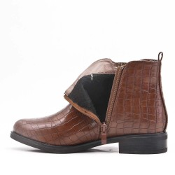 Bottine marron en simili cuir imprimé croco