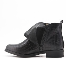 Black imitation leather ankle boot with crocodile print