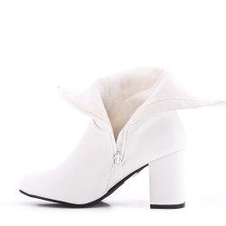 White ankle boot in faux leather with heel