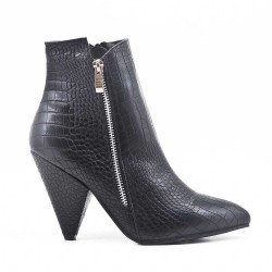 Black ankle boot in croco leather with pointed toe
