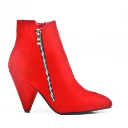 Red ankle boot with pointed toe
