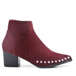 Red wine ankle boot in faux suede with studs