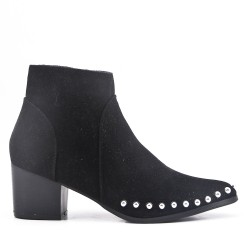 Black ankle boot in faux suede with studs