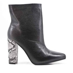 Black imitation leather ankle boot with snake print heel