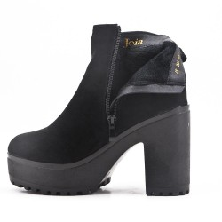 Black ankle boot in faux suede with heel and platform