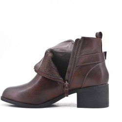 Brown ankle boot with faux leather