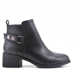 Black ankle boot with faux leather