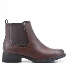 Brown imitation leather ankle boot with elasticated upper