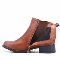 Camel imitation leather ankle boot with elasticated upper