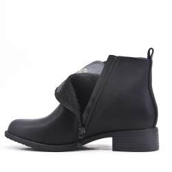 Black imitation leather ankle boot with elasticated upper