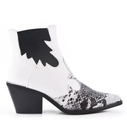 White ankle boot with snake pattern