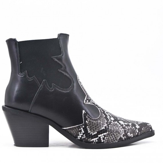 Black ankle boot with snake pattern