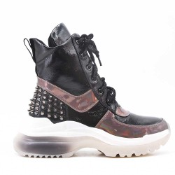 Black ankle boot with studs and lace