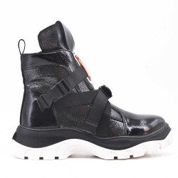 Black ankle boot with notched sole