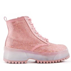 Pink ankle boot with rhinestones on the whole