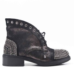 Black ankle boot with rhinestones on the tongue