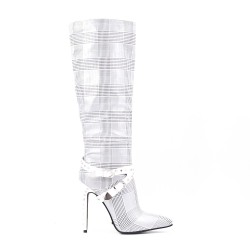 Check leather imitation leather boots with stiletto heel