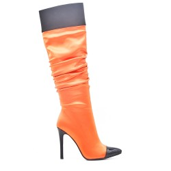 Orange pleated boots with stiletto heel