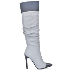 Gray pleated boots with stiletto heel