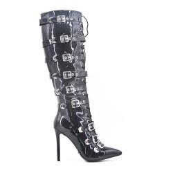 Black patent leather boots with buckled bridles