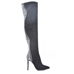 Black suede leather knee boots with rhinestones