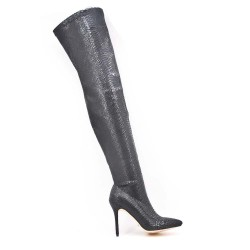 Thigh-print leatherette thigh boots