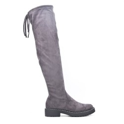 Gray suede leather knee boots
