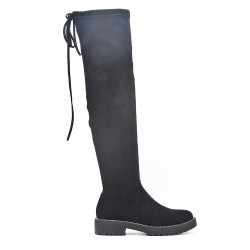 Black suede leather knee boots