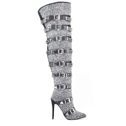 Thigh highs with rhinestones and studded bridles