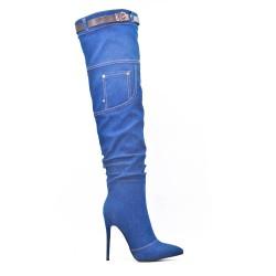 Botas de muslo de jean con tacón de aguja