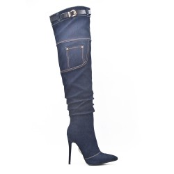 Jean thigh boots with stiletto heel