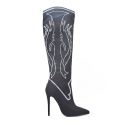 Black suede leather boots adorned with rhinestones