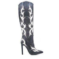Faux leather boots with stiletto heel