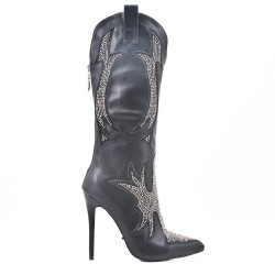 Black faux leather boots with rhinestones