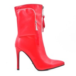 Red imitation leather ankle boot with heel