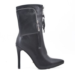 Black imitation leather ankle boot with heel