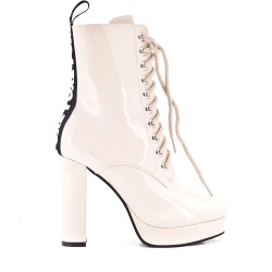 Beige patent lace ankle boot with heel