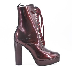 Red wine patent lace ankle boot with heel