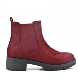 Red wine ankle boot in faux suede elastic yoke