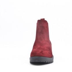 Bottine rouge en simili daim empiècement élastique