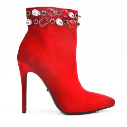 Rhinestone ankle boot with stiletto heel