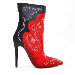 Ankle boot with rhinestones and stiletto heel
